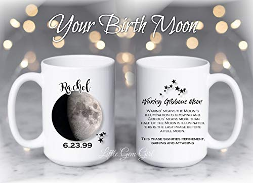 Your Custom Name, Date, Birth Moon Phase and Meaning Coffee Mug - Ceramic 15 oz Large Capacity Personalized Coffee Cup