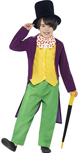 [Willy Wonka Costume With Top, Trousers, Bow Tie, Hat & Cane Large] (Roald Dahl Costumes Ebay)