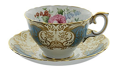 Vintage Crown Fine Bone China Staffordshire England Blue & Gold Gilt Floral Pattern Tea Cup and Saucer Set ()
