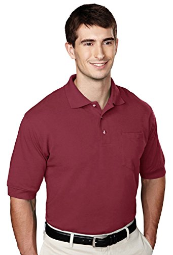 (Tri-mountain Mens 60/40 pique pocketed golf shirt. - MAROON - Large)