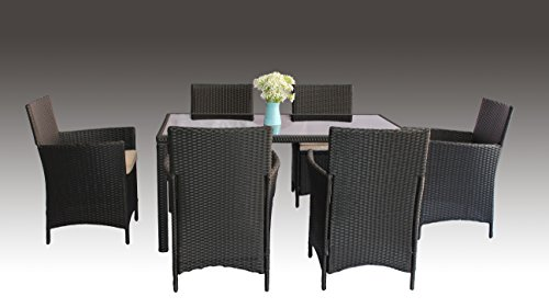 UNITED FLAME 7PCS WICKER RATTAN OUTDOOR INDOOR GARDEN PATIO CONSERVATORY BISTRO FURNITURE DINING SET-HELSINKI RATTAN DINING SET/ONE TABLE+SIX CHAIRS. (Furniture Rattan Conservatory Cushions)