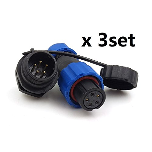 High Cable Connectors Voltage - SD13 IP68 5PIN Waterproof Power Connector, High Voltage Circular Power Connector Industrial Electrical Cable Wire Connector Plug(Female)-Socket(Male) (5pin, Panel Mount x 3set)