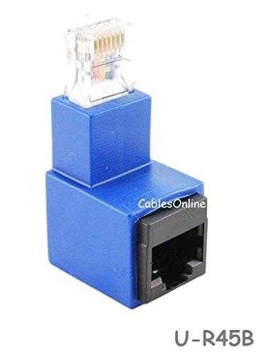 CablesOnline Cat5e/Cat6 RJ45 Ethernet Male/Female Right Angle Adapter. RJ45/ 8P8C Female to RJ45/ 8P8C Male, U-R45B