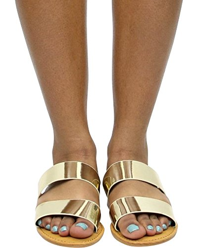 On Bamboo Womens Two Sandals 62S Slip Band SEASHORE Slides Gold xBfF0xqw