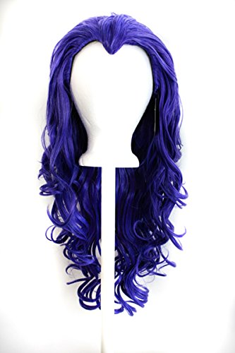 Widows Peak Black Wig - Aya - Amethyst Purple Wig 25'' Curly Layered Cut with Widow's Peak and no bangs
