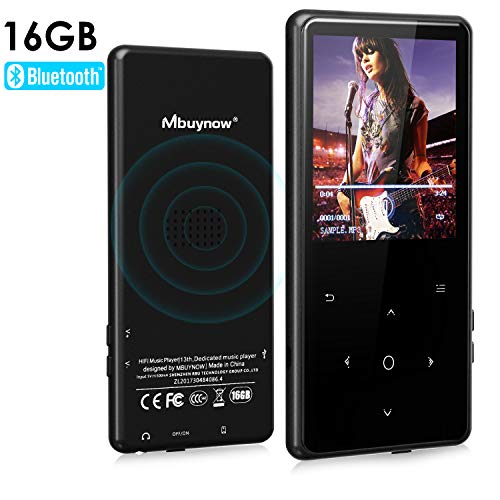 MP3 Player with Bluetooth, Mbuynow 16GB Portable Music Player 2.4 Inch Tempered Glass Screen with FM Radio HiFi Metal Audio Player with Voice Recorder Touch Button Support Up to 128GB TF Card