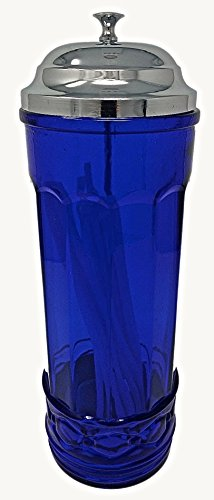 Rhyne and Son Straw Dispenser Holder with Metal Lid Reproduction Glass (Cobalt Blue) by Rhyne and Son
