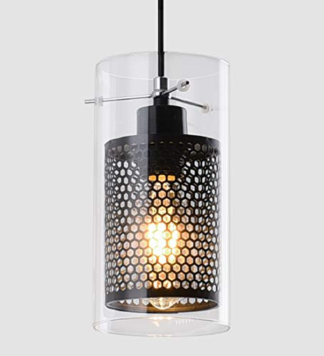Modern Swag Kitchen Light Fixture 1 Light Clear Glass and Metal Inner Shade Mini Pendant Lighting for Kitchen Island Dining Room Farmhouse Cafe Bar Living Room -
