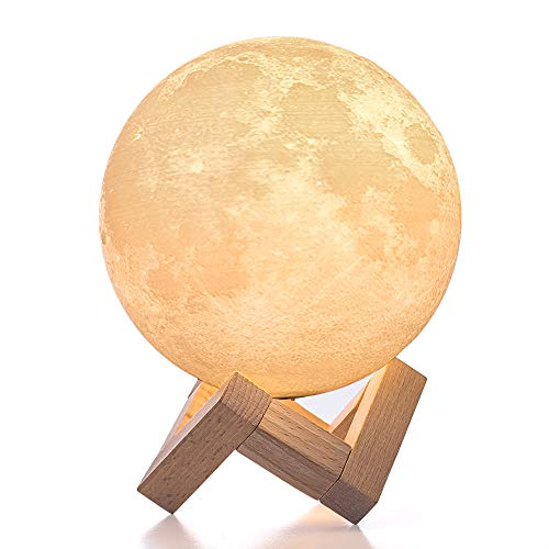 BRIGHTWORLD Moon Lamp, 3D Printing Lunar Lamp Night Light as Kids Women Girls Gift, USB Charging and Touch Control Brightness Two Tone Warm and Cool White 4.7IN (Upgraded Version)