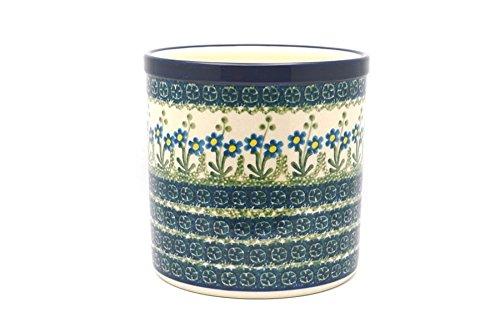 Polish Pottery Utensil Holder - Blue Spring Daisy