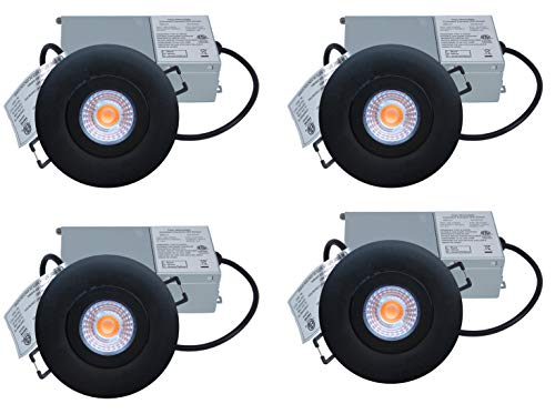 YUURTA (4-Pack) 3-Inch 7W Gimbal COB LED Downlight (Pot Light) Dimmable 120V Recessed Ceiling Round Black Trim Adjustable Panel with Driver in Junction Box ETL Listed IC Rated (COB, Black, 3000K)