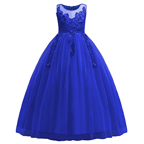 HUANQIUE Girl Embroidery Pageant Party Dress Kids Prom Ball Gown RoyalBlue 11-12 Years]()