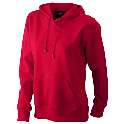 JAMES & NICHOLSON - Sudadera con capucha - Básico - Cuello redondo - Manga Larga - para mujer Rojo