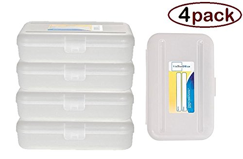 1InTheoffice Pencil Box, Translucent Clear (4 (Clear Pencil Case)