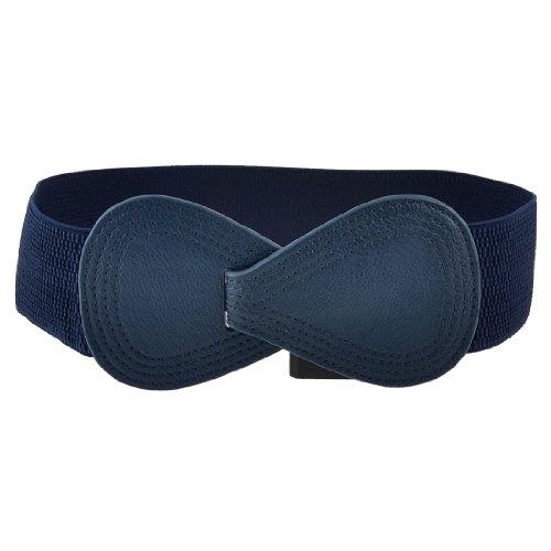 Women Faux Leather 8 Shaped Interlocking Buckle Spandex Waistband Waist Belt Dark Blue