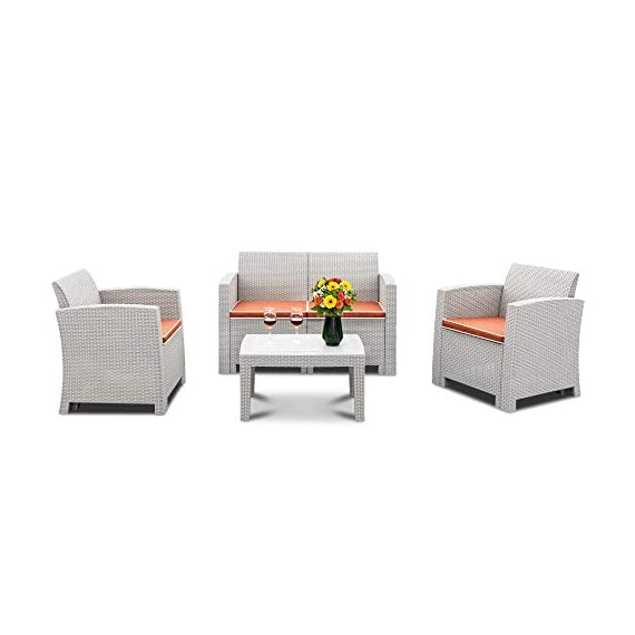 Bonnlo 4 Piece Patio Furniture Set, Rattan Table Chair Set, Conversation Set with Removable Cushion Outdoor Indoor Use Sectional Yard Furniture Set, Simple Assembly Tools Free - Excellent Quality: This 4 piece bistro table set is made of all weather PP rattan wicker, without steel frame, so you don't need to worry about rust, and difficult to crack, split, rot, chip, fade or deteriorate. Beside, the cushion cover is made of 240G fiber cloth, thicker and more durable for use. Upgraded Comfort: Ergonomically engineered for ultimate comfort, the ergonomic armrests and seat backs, and with 2.4 inch thickness cushion to ensure you will enjoy your seating all day long! These lofty sponge padded cushions won't collapse after use. Super-Easy Assembly & Easy Cleaning: No tools needed to assemble, but we recommend at least two people to complete the assembly. The great advantages of backyard furniture sets is its hardiness and durability as well as its ease of maintenance. It is easy to remove the dirt. Non-metal frame is low maintenance and rust-proof. Just wipe it clean! - patio-furniture, patio, conversation-sets - 4193I2ja3%2BL. SS570  -