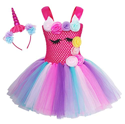 Cotrio Rainbow Unicorn Tutu Dress Girls Birthday Party Dresses Halloween Costumes Outfits with Headband Size 6 (6-7 Years, Rose Red)