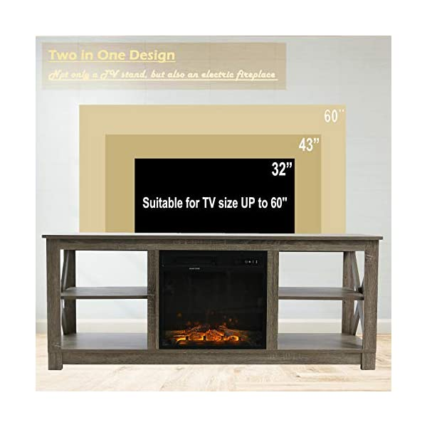 VINGLI Electric Fireplace Media Center, Farmhouse Electric Fireplace TV Stand with Remote, TV Console with Fireplace for…