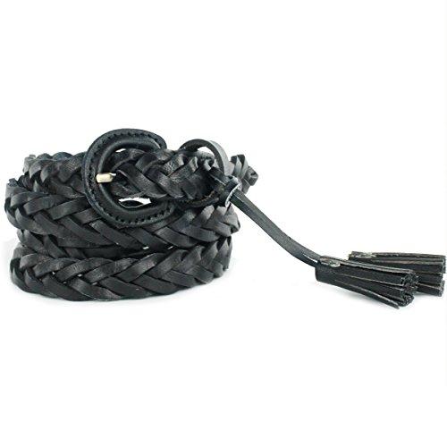 UER Women's Fashion Cow Leather Braid Skinny Belt Waist Belt With Tassel (Black) (Braid Leather Belt)
