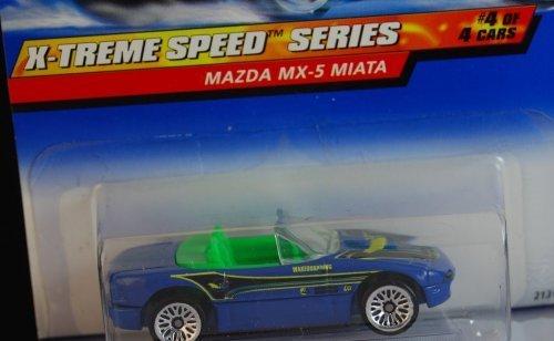 Hot Wheels 1999 X-Treme Speed Series blue Mazda MX-5 Miata Die Cast Car #4/4 1:64 Scale ()
