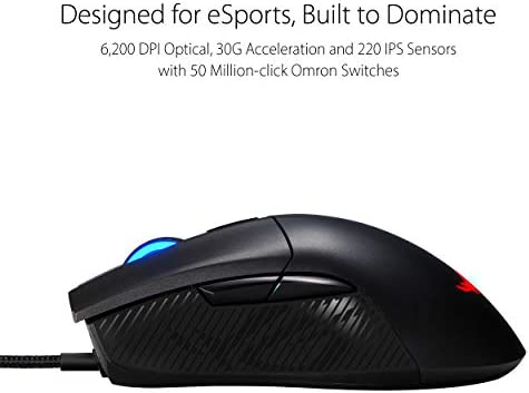 ASUS Optical Gaming Mouse – ROG Gladius II Core | Ergonomic Right-Hand Grip | Lightweight PC Gaming Mouse | 6200 DPI Optical Sensor | Omron Switches | 6 Buttons | Aura Sync RGB Lighting 4193IQx8eXL