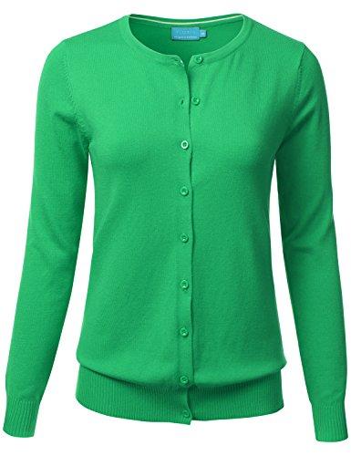 f1c07c0b3a FLORIA Women Button Down Crew Neck Long Sleeve Soft Knit Cardigan Sweater  APPLEGREEN S