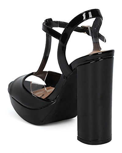 Lounge Block Women Diva HC69 Heels T Patent Strap Black Toe Party Heel Collection Sandal Retro Chunky Peep Platform Wild by Night Heel Out Alrisco Dressy E4d1q1