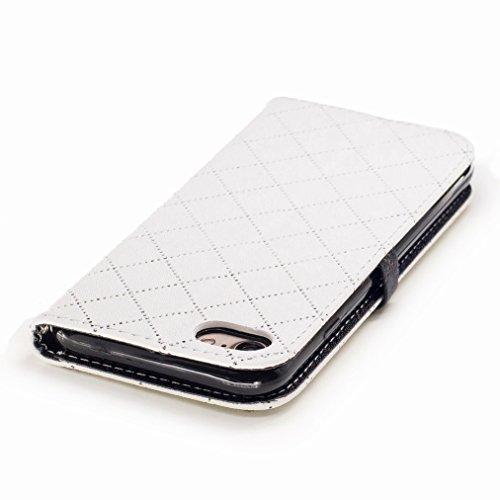 Yiizy Apple IPhone 7 Custodia Cover, Amare Design Sottile Flip Portafoglio PU Pelle Cuoio Copertura Shell Case Slot Schede Cavalletto Stile Libro Bumper Protettivo Borsa (Bianco)