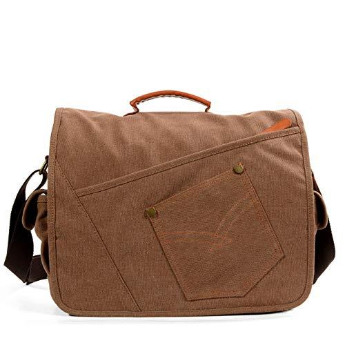 Vintage Canvas Messenger Bag School Shoulder Bag for 13.3-15inch Laptop Business Briefcase (Brown)