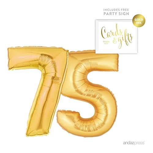 Giant Gold Foil 75th Birthday Balloon