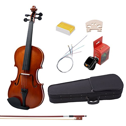 Full Size Violin Kit Music 4/4 Handmade Hardwood Violin for Beginners- Matte Antique