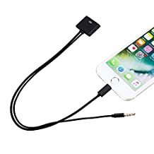 30 Pin to 8 Pin Cable Adapter Converter with 3.5mm Audio Connector for Iphone 5/5s/6/6s/iPod Touch/iPad Air, Ipad Mini, Black
