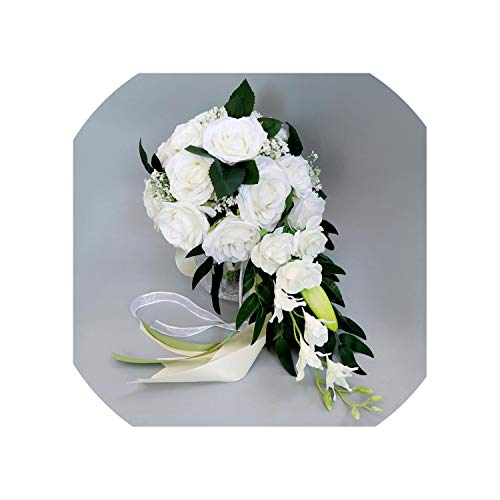 Realistic Wedding Bride Bouquet Hand Tied Flower Decoration Holiday Party Supplies European Chaise Longue Roses Wedding Flowers,White