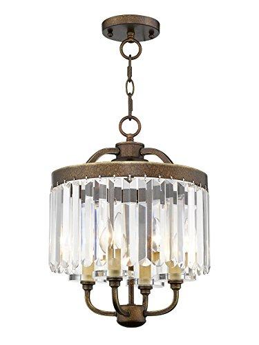 (Livex Lighting 50543-64 Ashton 4-Light Convertible Mini Chandelier/Ceiling Mount, Hand Painted Palacial Bronze )