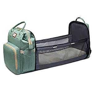 Motherly Diaper Bags Backpacks with Extendable Folding Crib for Babies (Light Green)
