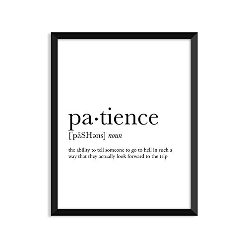 Patience definition, college dorm room decor, dorm wall art, dictionary art print, office decor, minimalist poster, funny definition print, definition poster, inspirational quotes