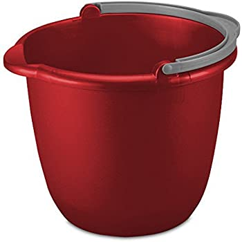 10QT (9.5L) RED Heavy Duty Sturdy Spout Pail Bucket with Durable Grip Handle for Cleaning, Mopping, Projects, Storage, Paint