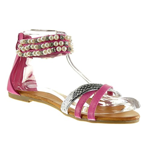 Cm Angkorly Fushia Donna largo 1 Fashion Shoes Tacco Skin Snake Jewelry Pearl Sandali qZpaPrwfxq
