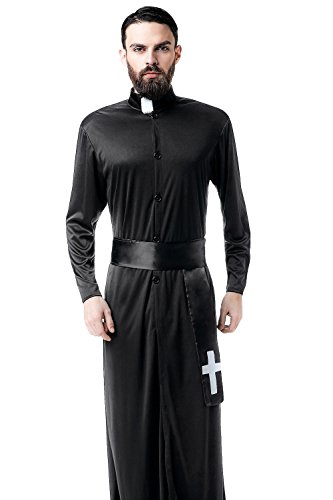 Adult Men Missionary Costume Cleric Cassock Robe Priest Christian Pastor Dress Up (Medium/Large, Black)