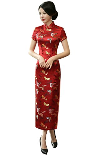 ACVIP Women's Butterfly Brocade Short Chinese Traditional Cheongsam Long Dress (US 4/Chinese L, Red) by ACVIP (Image #1)