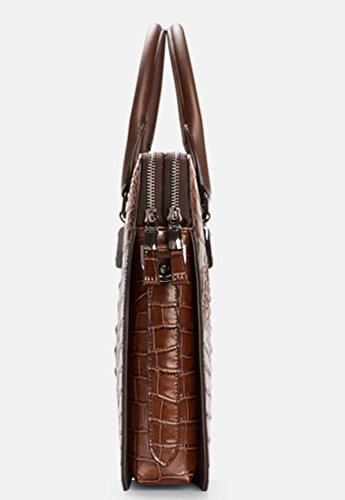 RENHONG Männer Retro Braun Schwarz Blau Krokodil Muster Echt Leder Aktentasche Schultertasche Messenger Bag Business Casual Büro College B owAYaIIe
