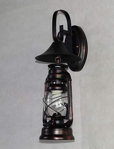 ci sono più marche di prodotti di alta qualità Nera Vintage Lanterna di Metallo Lampada da parete parete parete con uno, la luce bianca calda-220-240v  611  prima i clienti