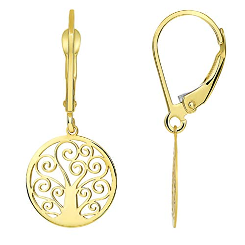 Solid 14k Yellow Gold Elegant Round Tree of Life Dangle Drop Earrings with Leverback