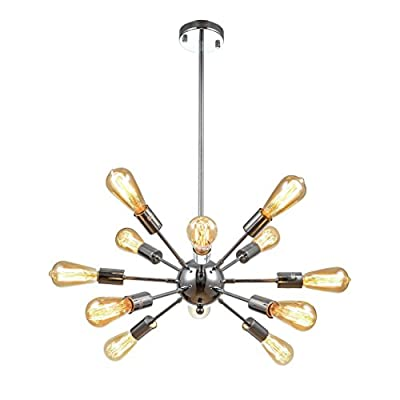 mirrea Vintage Metal Large Dimmable Sputnik Chandelier with 12 Lights