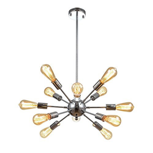 mirrea Sputnik Chandelier Vintage Edison Light Fixture Industrial Starburst Lighting with 12 Lights Chrome Finished Metal
