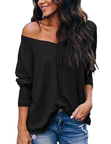NIASHOT Womens Long Sleeve Tops V Neck Off The Shoulder Casual Pullover Sweater