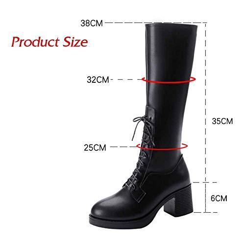 Ladies Black Sopra Boots Con Zipper Casual Il Fashion Ginocchio Winter Stivali Womens Motociclista Pointed Side Martin Da 1adxFKqU