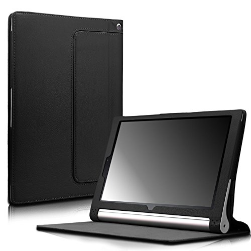 Infiland Lenovo Yoga Tablet 2 10 Case, Folio Premium Leather Stand Cover Fit Lenovo Yoga Tablet 2 10-Inch (Android and Windows Version) -Black