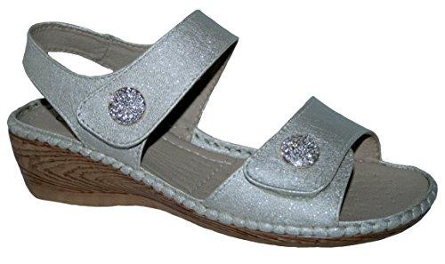 et femme confortables compensé à arrière Bronze Button légères lanière talon pour d'été Sandales xwvYUpqgY