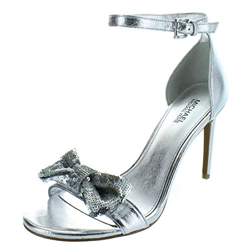 Michael Michael Kors Womens Paris Evening Sandals Silver 8 Medium (B,M)